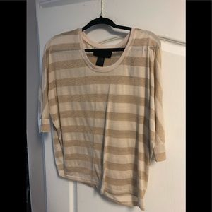 Gold and cream stripped top! Loose fitting top